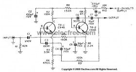 Transistors Dynamic Microphone Preamplifier Circuit with