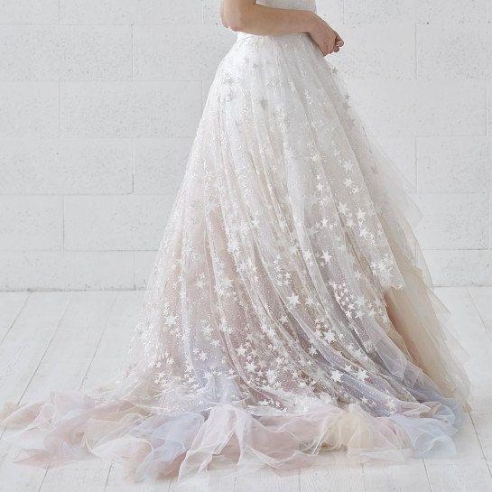 bridal overskirt with stars  celestial overskirt  detachable bridal train  detachable overskirt  celestial bridal accessory Celeste