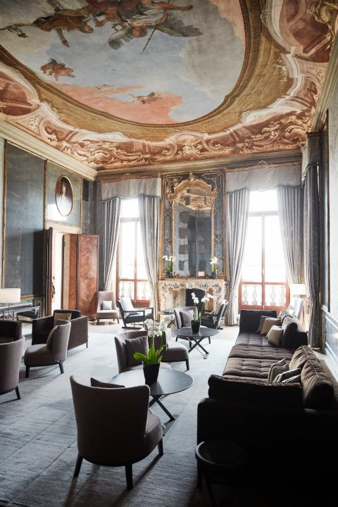 The newly refurbished salon of the Aman Venice. The house was fully renovated…
