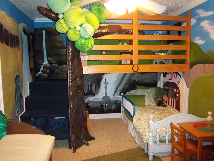Nature Themed Boys Bedroom Ideas With Tree House Like Mini Mezzanine With  Horse And Nature Painted