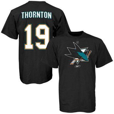 Mens San Jose Sharks Joe Thornton Reebok Black Name & Number T-Shirt