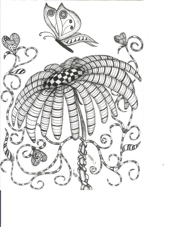 butterfly wings hearts flower abstract doodle zentangle zendoodle paisley coloring pages colouring adult detailed advanced printable - Advanced Coloring Pages Butterfly