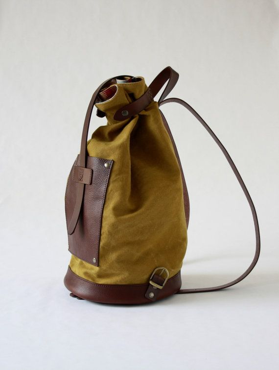BACKPACK in yellow CANVAS and dark brown genuine leather by ElMato on Etsy/made in italy backpacks/original backpacks