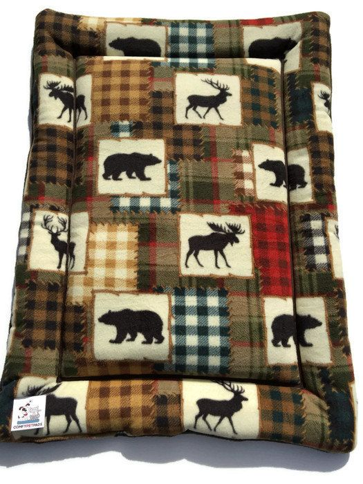 Big Dog Bed, Moose Dog Pad, Grizzly Bear Fabric, Puppy Bedding, Lodge Decor, Moose Decor, Crate Dog Mat, Cabin Gifts, Kennel Dog Pads by ComfyPetPads on Etsy