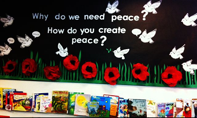 Remembrance Day / Peace: Used tissue paper to make giant poppies.