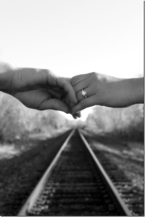 Engagement Session on railroad tracks - What a neat detail shot!