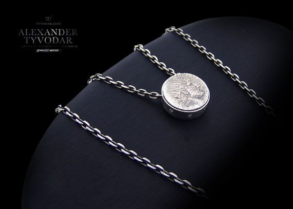 Antique coin   Necklace made of sterling silver antique by TYVODAR