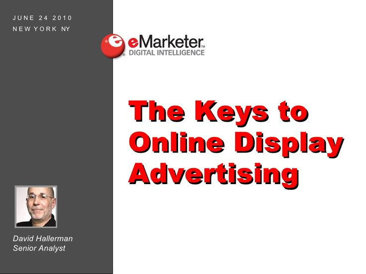 Summary: eMarketer's webinar on online display advertising, giving a great look at their presentation that fully deserves its 14k views.  Tags: Display, advertising, display advertising, online, ad, ads, webinar, presentation, SlideShare  Rating: 5/5