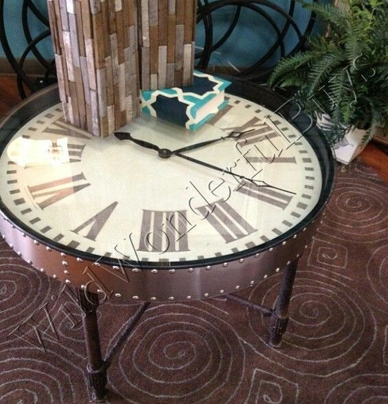 INDUSTRIAL STYLE Clock COFFEE TABLE Cocktail Glass Top Roman Numeral Furniture #Nautical