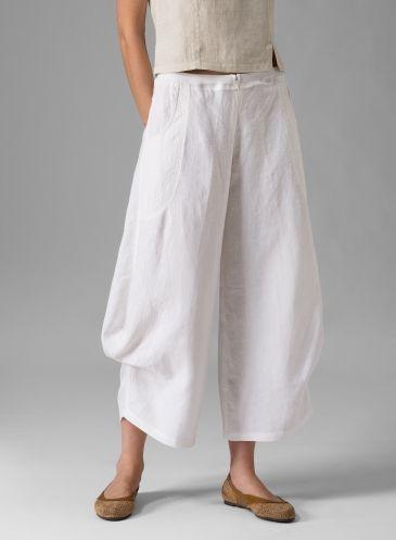 Linen Flared Leg Crop Pants White vividlinen Good option for wide leg pants, pin up side seam