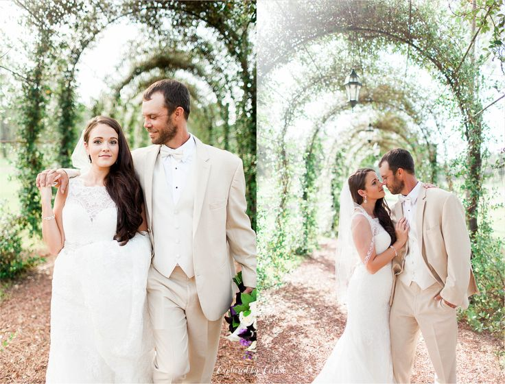 Rustic South Georgia Wedding   August outdoor wedding   Country chic wedding   Valdosta, Georgia Photographer   Captured by Colson Photography   Bride and Groom   Khaki suit