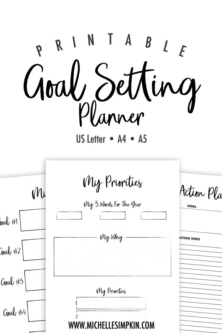 Goal Setting Planner - Use this printable goal setting planner to sort through your goals and choose the most exciting ones to accomplish this year. Goal Setting | Goal Setting Planner | Goals | Goal Planner | Resolutions #goalsetting #goalsettingplanner #goals #settinggoals https://www.michellesimpkin.com/products/goalplanner