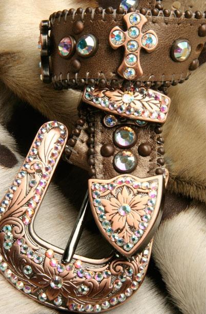 Carved ladies flower & rind-stone belt.