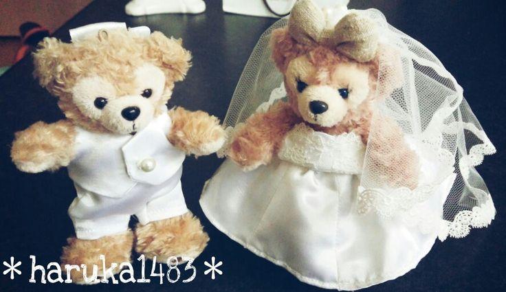 *DIY for my wedding*ダッフィーのぬいぐるみバッジの衣装♡型紙をネットで探して母が作成!! #ウェルカムドール #ウェディング #手作り結婚式 #ウェルカムグッズ