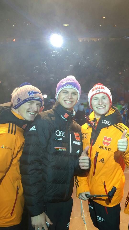 Severin Freund, Andreas Wellinger und Marinus Kraus