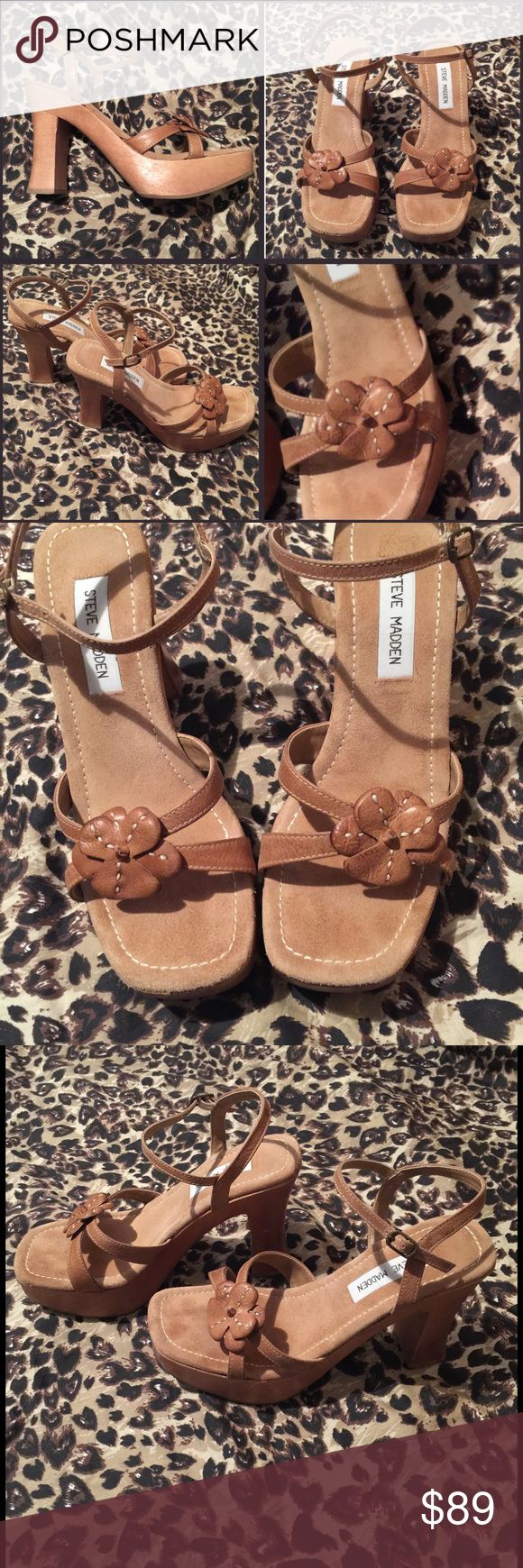 STEEVE MADDEN WOODEN HEELS STEEVE madden wooden heels, super cute and hard to find! Lightly worn, maybe 2-3 times. No trades or holds. Price is firm unless bundled Steve Madden Shoes