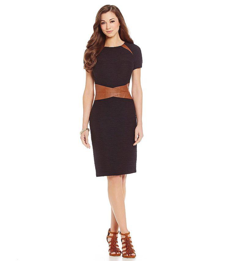 Antonio Melani Cynthia Ottoman & Faux-Leather Sheath Dress