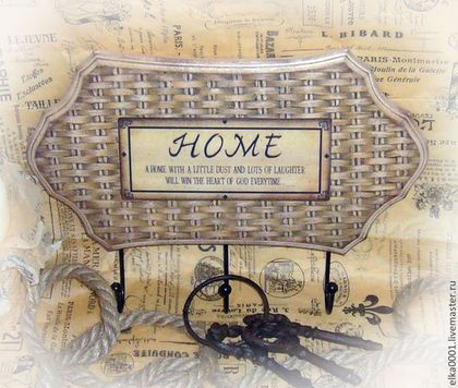 """Вешалка-панно """"HOME"""" - бежевый,вешалка,вешалка для кухни,Вешалка для полотенец"""