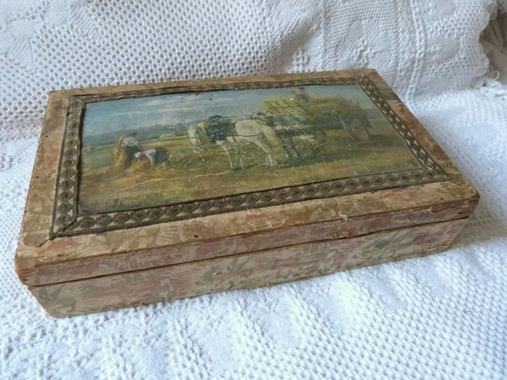 Antique wooden box handmade rare large 1900s French keepsake box wood w country print, oriental paper w dragons, gold metallic trim decor by MyFrenchAntiqueShop on Etsy