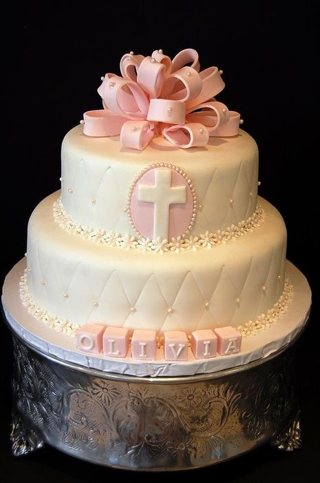 Baptism cake for a girl. Cute block letters. www.itsacakething.ca
