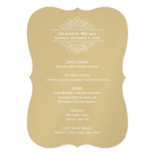 Wedding Dinner Menu Card   Gold Classic Elegance