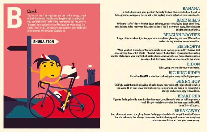 Spencer Wilson - The Modern MAMIL - A Cyclist's A-Z - Kinkajou books Tiphaine-illustration #bike #alphabetbook #bigringrider #banana