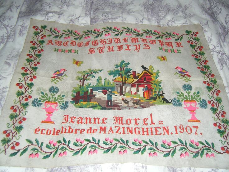 An Early 20th Century FRENCH Sampler Stitched By Jeanne Morel & Dated 1907