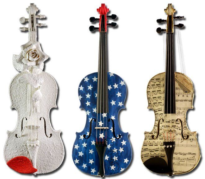 These r very decorative violins my fav is the middle one ........... ;)