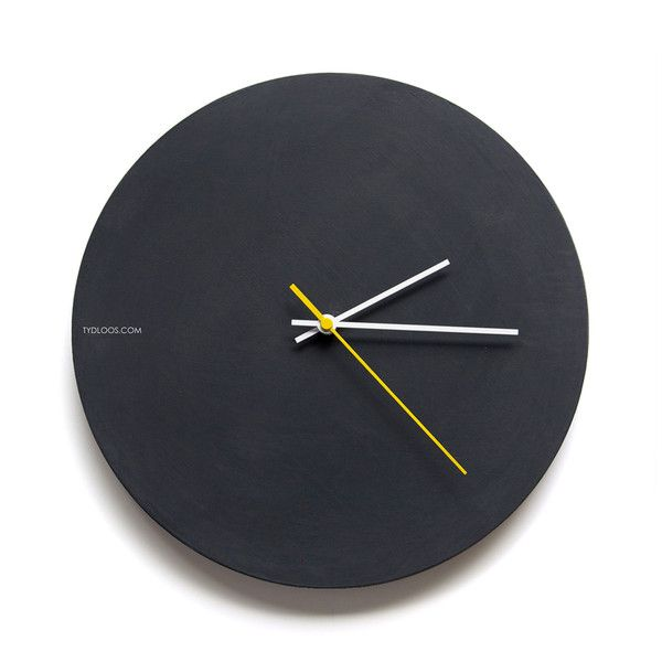BLACK BOARD PAINT WALL CLOCK. Create your own masterpiece or messages or leave simple matt black! You can clean the chalk with a damp cloth easily. 300mm diameter MDF hand painted with black