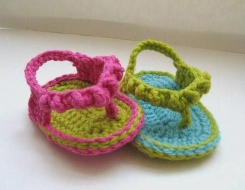 Baby crochet flip flops! How cute! And soft for their little feet. I used to sell kids shoes so I know how stiff and uncomfortable they can be for babies