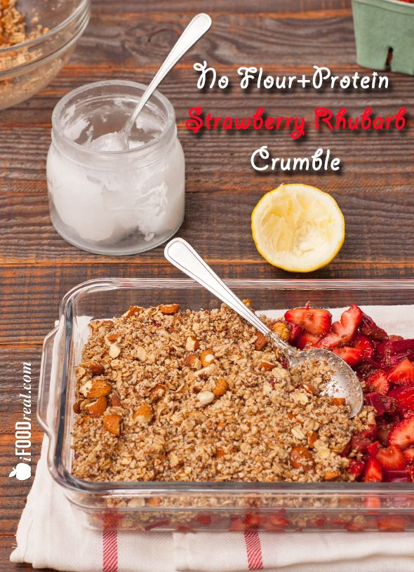 No Flour Strawberry Rhubarb Crumble.  Just in time for the strawberries season and oh so guilt-free! Vegan, vegetarian and gluten free.