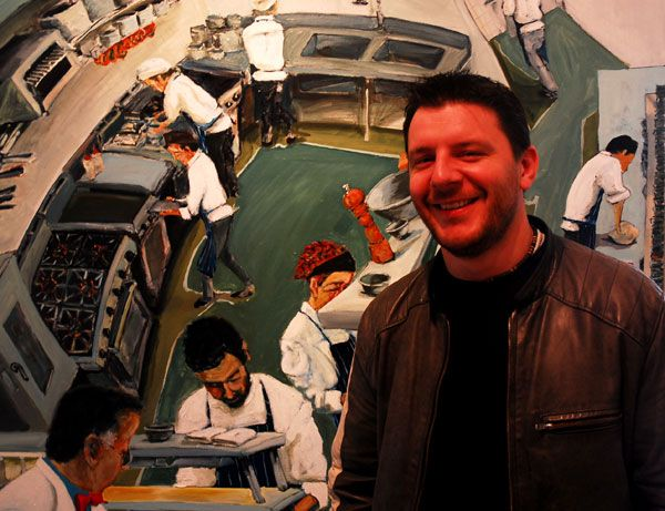 Manu Feildel with Bilson's painting. Back of House Sydney