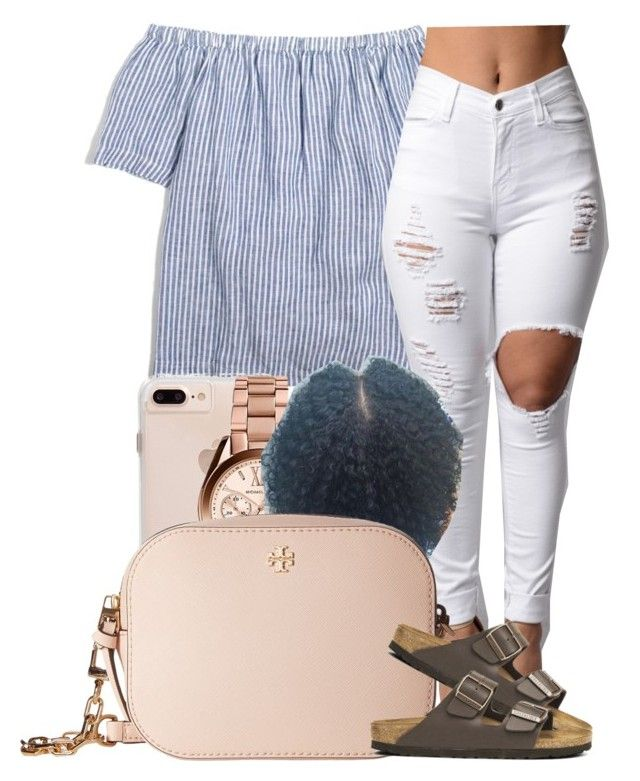 """""""Contest Stripes"""" by jalay ❤ liked on Polyvore featuring J.Crew, Michael Kors, Tory Burch and Birkenstock"""