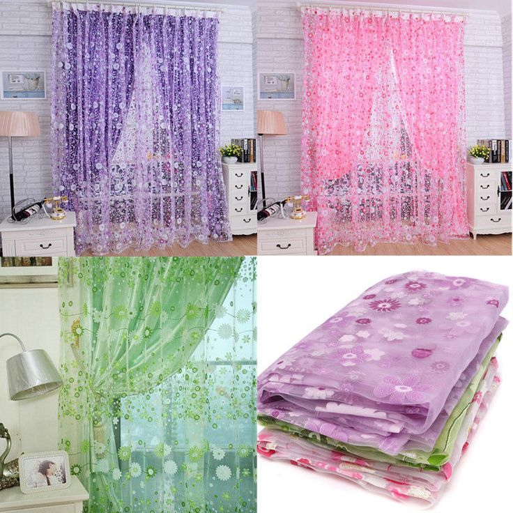 Modern Floral Tulle Voile Door Window Curtain Drape Panel Sheer Scarf Valances #Unbranded