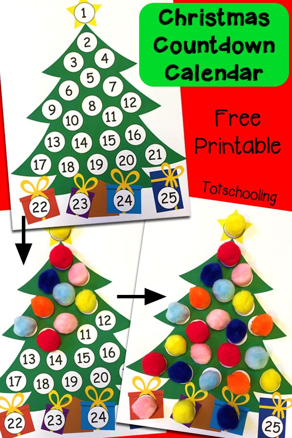 Christmas Countdown Printable Advent Calendar | Totschooling - Toddler and Preschool Educational Printable Activities