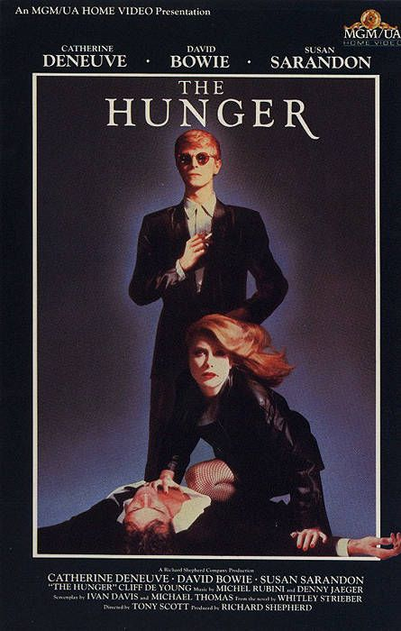 """The Hunger - David Bowie, Catherine Deneuve & Susan Sarandon.  The movie was released in 1983 and I consider it to be one of the best vampire movies.  There is even a cameo of Peter Murphy singing """"Bela Lugosi's Dead""""."""