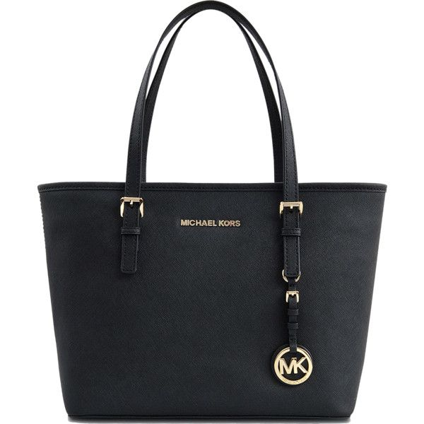 Michael Kors Jet Set Travel SM multifonction 18K Tote found on Polyvore featuring bags, handbags, tote bags, black zipper tote, black handbags, michael kors purses, zip tote and shopping tote bags