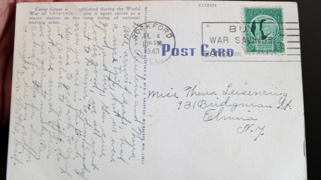 This undated photo, shows a postcard delivered to an address in Elmira N.Y., during the week of Nov. 12. 2012.The postcard was originally sent nearly seven decades ago. (AP/STAR-GAZETTE)