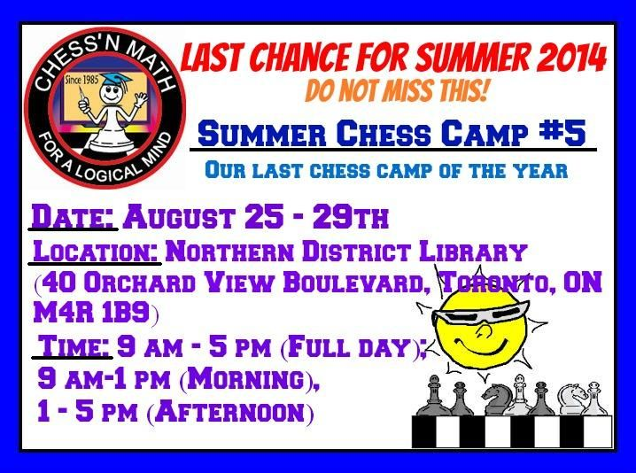 Our Last Summer Camp of the year! Do not miss the chance to join the fun before school starts! Call 416-488-5506 or email: Toronto@chess-math.org for details #chess #chesscamp #summercamp #summer #toronto #kids #lesson