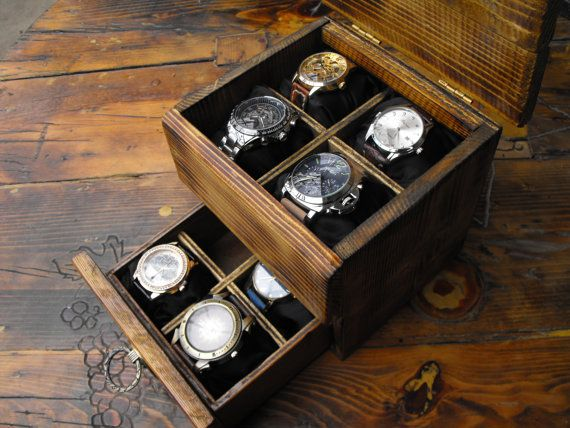 Men's watch box rustic wooden watchbox watch storage by GORIANI