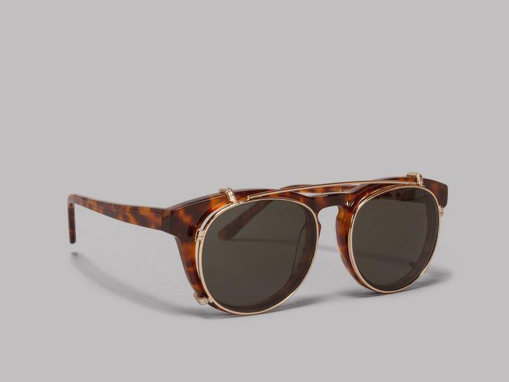 Han Kjøbenhavn Timeless Clip-On Sunglasses (Amber / Green)