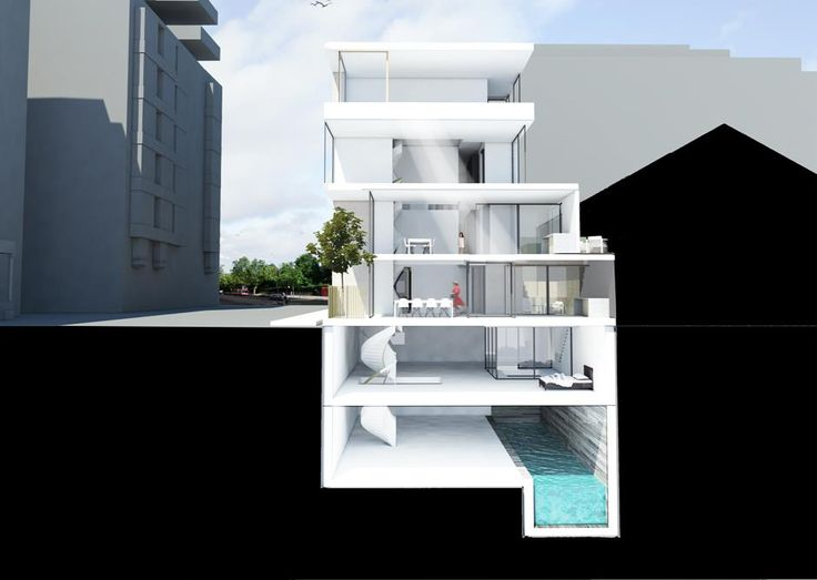 3D Sectional cut through a contemporary London terrace. Four storeys over a triple basement, making best use of land in sought after London space.