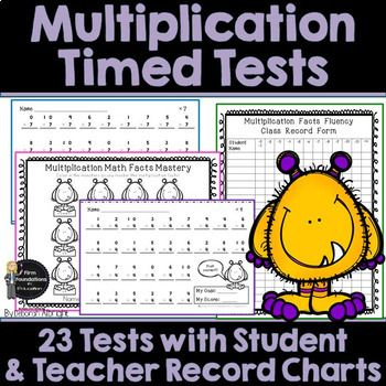 Multiplication Timed Tests. 23 one-minute speed tests to assess multiplication facts tables. Includes review. Also includes teacher and student record charts.