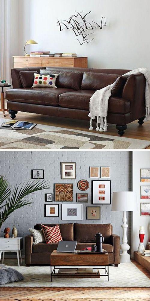 Decorar en torno a un sofá color chocolate   Decoración de interiores • How to decorate around a brown sofa