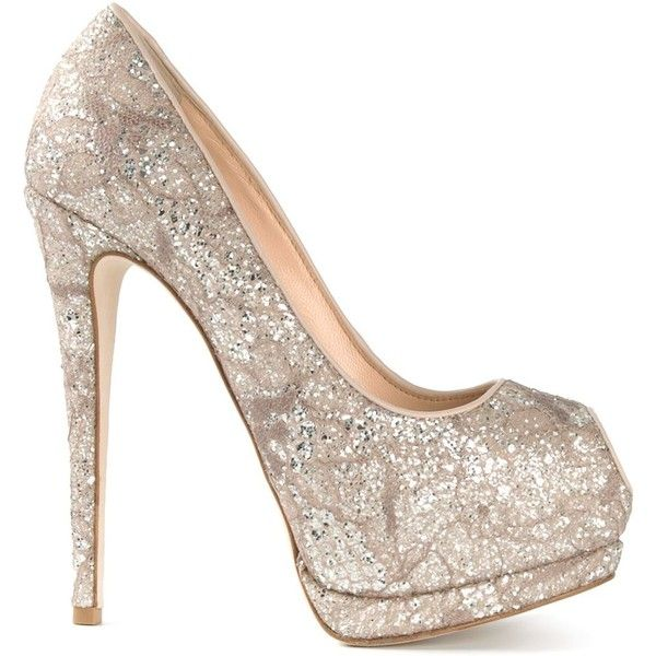 Giuseppe Zanotti Design Sparkling Platform Pumps (2.230 BRL) ❤ liked on Polyvore featuring shoes, pumps, heels, sapatos, high heels, metallic, pink high heel pumps, sparkly pumps, pink peep toe pumps and pink glitter pumps