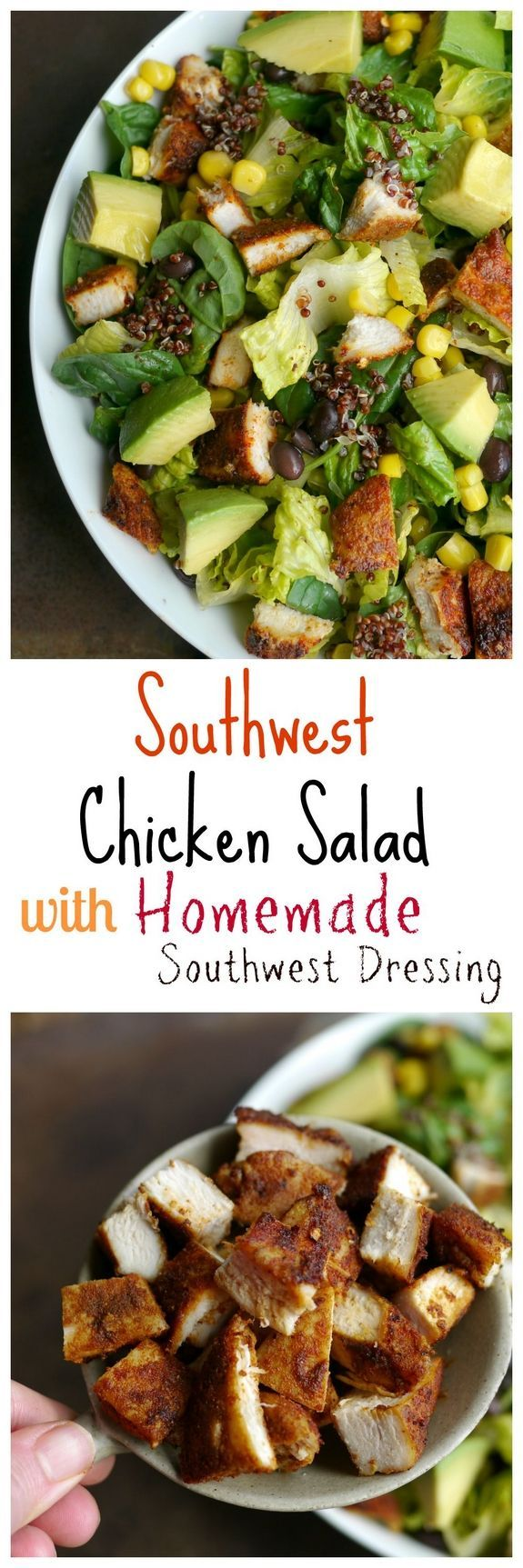 Southwest Chicken Salad with Homemade Southwest Dressing. The perfect dinner or lunch using FosterFramsFresh chicken, so delicious! @FosterFarms AD