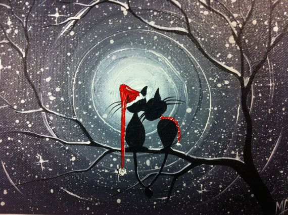 Original Whimsical Cat PaintingA Moment in Time by MichaelHProsper, $28.00 cats in a tree