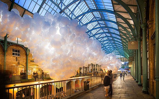 As part of a large pop-up art installation, the South Hall will be filled with luminous white balloons for a month
