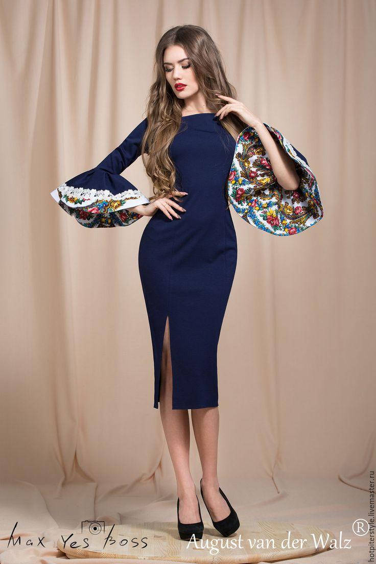 """Купить """"Весенние цветы"""" Платье футляр с волшебными рукавами) - платье на каждый день"""