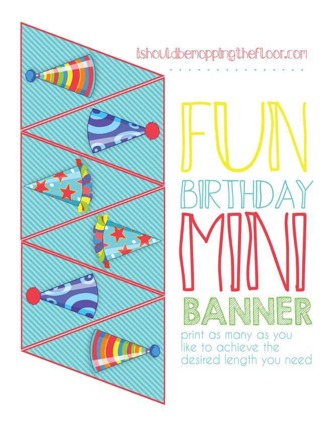 Free Printable Mini Birthday Banner perfect for